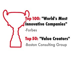 "[Top 50] ""World's Most Innovative Companies"" -Forbes / [Top 10] ""Value Creators"" -Boston Consulting Group"