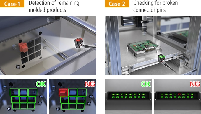 [Case-1] Detection of remaining molded products / [Case-2] Checking for broken connector pins